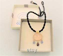 Gold Pendant ''NEL BLU'' Blue pendant- Jolite- mexican amber- romantic pendant