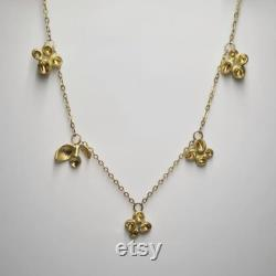 Gold Pods and Buds Necklace