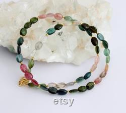 Gorgeous Tourmaline Necklace Colorful Oval with Gilded 925 Silver Collier Stone Jewelry Birthday Mother's Day Noble Gift Ladies Approx. 46 cm Long