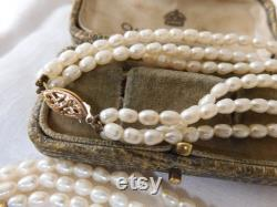 Gorgeous Vintage 1980s Triple Strand Genuine Pearl Necklace with 14ct Gold Clasp