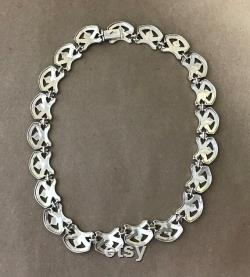 Gorgeous Vintage Sterling Silver Necklace Choker, marked 925,Thailand, 60 Grams