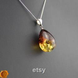 Gradient Amber Pendant Large Baltic Amber Sterling Silver Pendant Cognac Amber Teardrop Pendant Necklace Amber Gift Gemstone Teardrop