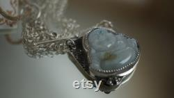 Hammered Asymmetric Silver Necklace with Nephrite Laughing Buddha Cabochon for Her