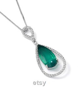 Hand made Emerald Drop 14K gold diamond necklace. Designer jewelry, a great gift for her. 15 carats Emerald Doublet 1.01 carats VS diamonds.