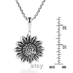 Handmade Enchanting Sunflower Sterling Silver Pendant Necklace With Chain,Sunflower Pendant, Gift for Her, Christmas Gift, Wedding Gift