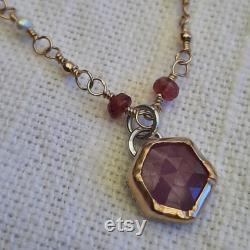 Handmade gold fill and sterling necklace with rubies and freshwater pearls
