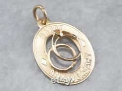 Happy Anniversary Gold Pendant, Anniversary Charm Pendant, Layering Pendant, Anniversary Gift, Anniversary Present, Estate Jewelry AD3203HX