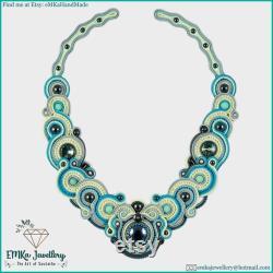 Hematite Ocean handmade blue and grey wedding soutache necklace with gemstones, soutache jewellery with Swarovski, free shipping