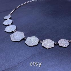 Hexagon hammered sterling silver necklace, silver jewellery, silver handmade jewellery, Hammered silver, 925 sterling silver