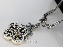 Holy cross Christianity unique sterling silver 925 gold plated 24k necklace gift for her byzantine empire