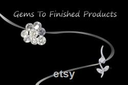 IGI Certified 14k White Gold Pendant, 3-Stone Pendant, Dangling Diamond Pendant, April Birthstone, Valentine's gift With Silver Chain