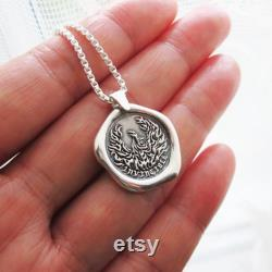 INVINCIBLE Phoenix Necklace Phoenix Pendant Sterling Silver Pendant necklace Wax Seal Necklace Phoenix Silver Jewelry Gift for Men N210 -