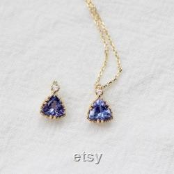 Initals Engraved Natural Blue Tanzanite Necklace, Solid Gold Tanzanite Necklace, Blue Tanzanite Necklace