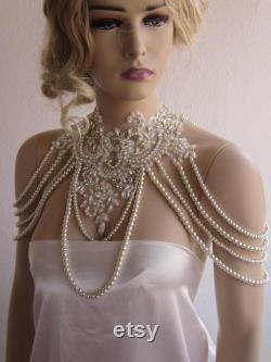 Jewelry Necklaces Shoulder. Lace and Pearl Shoulder, Wedding Shoulder, Shoulder Jewelry, Bridal Shoulder Necklace, Jewelry for shoulder