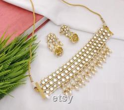 Kundan Choker Rajwadi Necklace Gold Kundan Necklace Jadau Indian Jewelry Handmade Necklace Gold Traditional Indian Jewelry White Choker