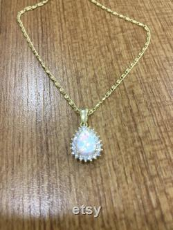 La Rossa Roxelana 14k Gold Necklace Pendant With Pear Cut Opalit and Brilliant Cut CZ Halo, Hurrem Sultan Opalit Gem Charm Necklace Pendant