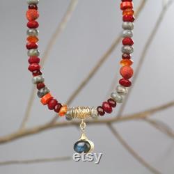 Labradorite Statement Pendant Necklace, Unique Red Carnelian Necklace
