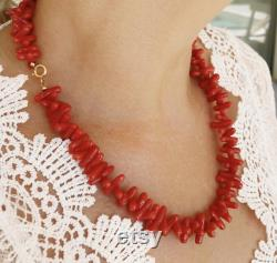 Large red coral necklace Corsican grade AAA, natural, Mediterranean, mounted on gold, gift woman, top quality