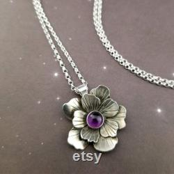 Locking Necklace Rose of Aphrodite Locking Submissive Necklace, Amethyst and Sterling Silver Slave Necklace, Discreet Day Collar