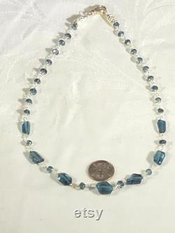 London blue topaz chunky stones, station necklace, choker, sterling silver wire wrap. One of a kind. Handmade