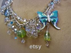 Mariposa Hermosa Butterfly Choker Necklace Vintage Assemblage Turquoise Enamel Brilliant Aurora Crystals Aqua Peach Boho Wedding