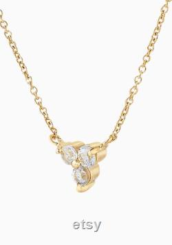 Minimalist 14K Diamond Trio Pendant and Chain Dainty Necklace Delicate Diamond Necklace with Adjustable Length Chain -16 17 18