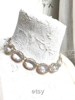 Miriam Haskell statement necklace for Aries, chunky crystal Statement Necklace, collet Necklace, Georgian necklace, Edwardian jewelry,