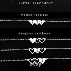 Mother 3 Daughter Necklace Set, Mother Daughter Jewelry, Personalized Gift, Dainty Necklace for Mom Three Daughter
