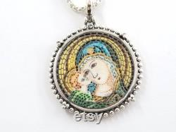 Mother Mary and Baby Jesus micro mosaic pendant in solid silver 925