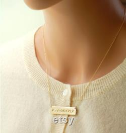 Mothers Gift from Daughter, 14K Gold Signature Bar Necklace, Mother of the Bride Gift, Mother of the groom gift, Mothers Jewelry idea