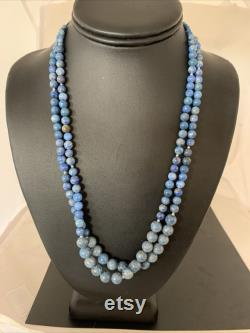 Native American Denim Lapis 2S Sterling Silver Bead 21 Necklace 1260