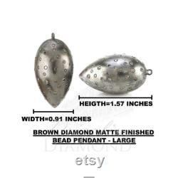 Natural Brown Diamond Bead Pendant,Matte Finish Pendant,Anxiety Pendant,Beaded Pendant,Statement Pendant,Pave Diamond Jewelry,Women Pendant.