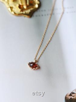 Natural Garnet Handmade 14K Yellow Gold Plated over 925 Silver Garnet Necklace, Gift for Her, Anniversary Gift, Fine Jewelry, Retro Jewelry