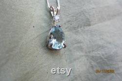 Natural Medium Blue Accented Pear Aquamarine Pendant