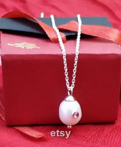 Natural Pearl and Pink Tourmaline Studded Unique Necklace in Solid 925 Sterling Silver Fine Jewelry Fresh Water Pearl Tourmaline Pendant Gift
