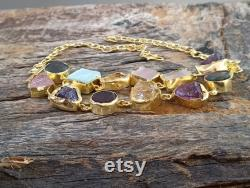 Natural Raw Multiple Semi Precious Gemstones Necklace, 18k Gold Plated Jewelry, Handcrafted Jewelry, Christmas Gifts, Ready To Ship, Gypsy