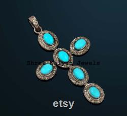 Natural Turquoise , Rose Cut Diamond Cross Pendant 925 Sterling Silver Cross Pendant Victorian Handmade Pendant Jewelry
