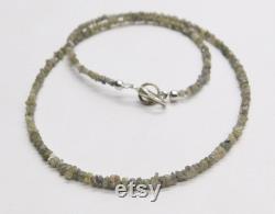 Natural White Grey Raw Uncut Diamond Beads Necklace 2.5-3 MM Finished Necklace Rough Diamond Silver Clasp Diamond Beads Diamond Jewelry