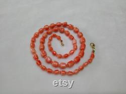 Natural untreated Genuine Natural 5.8X7.5 3.9X4.7 mm red orange coral beads necklace gift for woman gift mother gift for wife U926-1