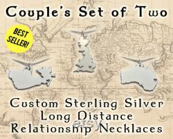 Necklace for Couples 2 Sterling Silver Necklace Countries with Cutout Hearts, Makes a Cute Long Distance Boyfriend Gift