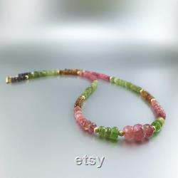 Necklace multi color Tourmaline with 14K gold filled gift for her watermelon beaded natural gemstone October birthstone anniversary gift