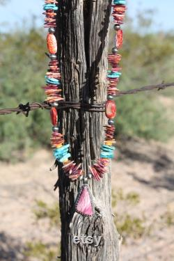 Nevada Turquoise and Spiny Oyster Necklace