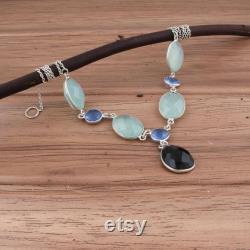 One-Of Kind Black Onyx Aqua Calci Blue Glass Gemstone's Necklace,925-Sterling Silver Boho Necklace,Cut Multi Stone Necklace, Bride Necklace