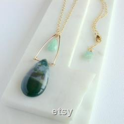 One of a Kind Gemstone Statement Necklace. Polished Landscape Jasper Pendant. Gift for Mom. Gemstone Statement Jewelry