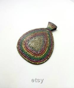 One of kind Multi Color pave sapphire designer Rosecut pave diamond pendant 925 sterling silver handmade finish diamond jewelry pendant