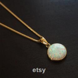 Opal Necklace, Solid 14K Yellow Gold Pendant, White Opal Necklace, Birthstone Necklace, October Birthstone, Gemstone Necklace, Opal Jewelry