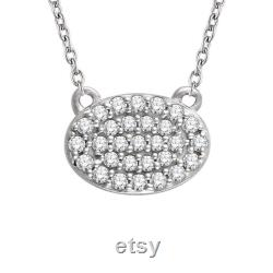 Oval Diamond Cluster Necklace VS1 or SI Diamonds. 14k, 18k Yellow, Rose, White Gold and Platinum. Geometric Fine Jewelry