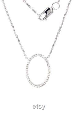 Oval Pendant Necklace Set In 14K White Gold