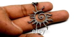 Pave Diamond Sun Pendant, 925 Silver Diamond Handmade Valentines Present Charm, Diamond Sun Necklace, Pave Diamond Jewelry, Diamond Findings