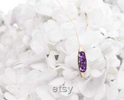 Pea in a pod amethyst necklace in 14k gold, Purple stone necklace for women, Peapod amethyst pendant, February birthstone necklace.